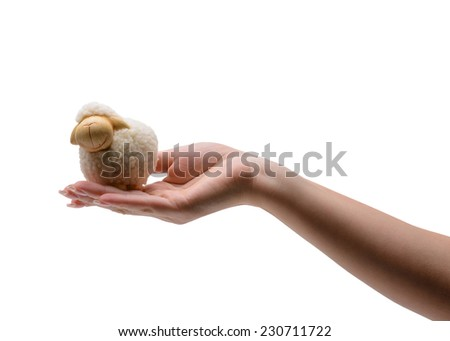 Christmas and New Year concept. sheep in the hand on a white background - stock photo