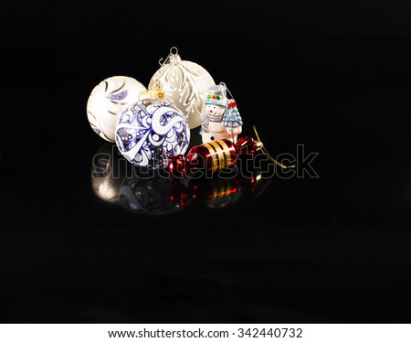 Christmas and New Year decorations background - stock photo