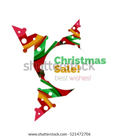 Christmas and New Year geometric paper design banner.