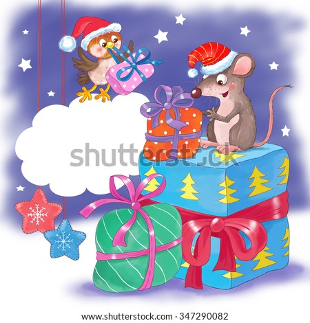 Christmas and New Year greeting card. Cute rat and sparrow wearing Christmas caps are enjoying their presents. Speech bubble with free space for your text. Illustration for children. Cartoon character - stock photo