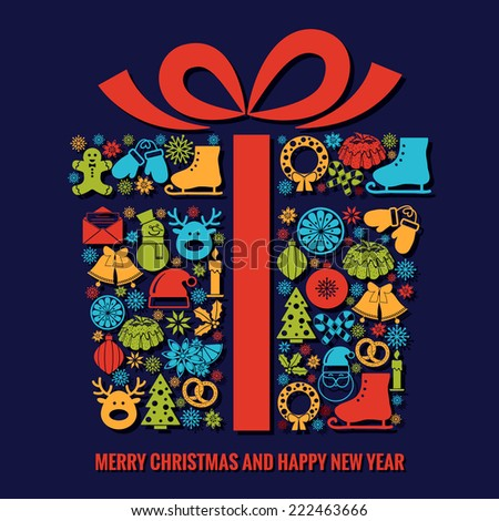 Christmas and New Year greeting card template with a selection of coloruful seasonal silhouette icons arranged in the shape of a Xmas gift box with ribbon with text below - stock photo