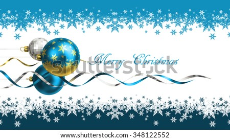 Christmas and new year greeting card with baubles and space for text - stock photo