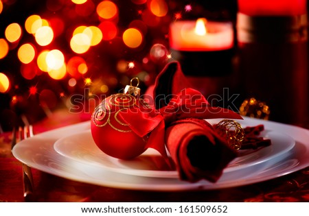 Christmas And New Year Holiday Table Setting. Celebration. Place setting for Christmas Dinner. & Christmas New Year Holiday Table Setting Stock Photo (Edit Now ...