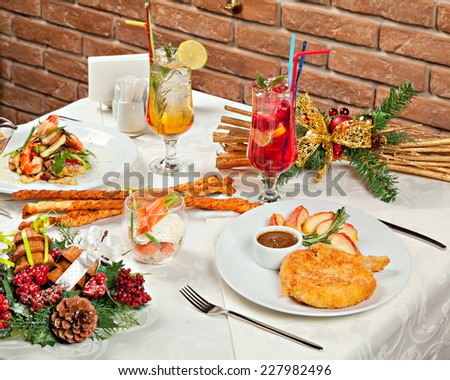 Christmas And New Year Holiday Table Setting with Festive Dinner. - stock photo