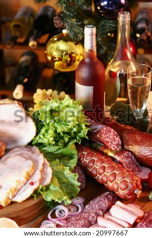 Christmas And New Year party table on wine rack background. - stock photo