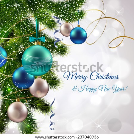 Christmas and new year postcard with pine tree branch and decoration balls  illustration - stock photo