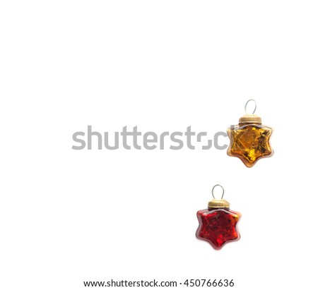 Christmas and new year red and gold toys. Glassy vintage stars isolated on a white background - stock photo