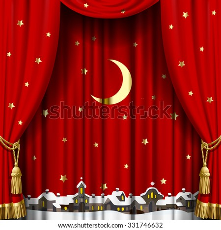 Christmas and New Year red curtain with a town skyline in snow down, gold moon and stars. Square theater and Christmas background. Artistic poster - stock photo