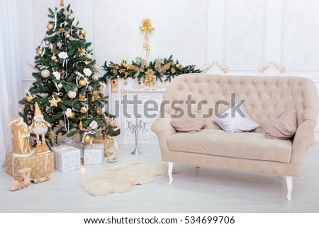 Christmas and New Year room decorations with fire place and christmas tree