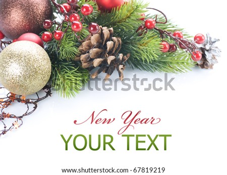 Christmas and New Year's border over white - stock photo