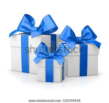 Christmas new years day group three 524190418 christmas and new years day group three blue gift boxes white background 3d rendering negle Image collections