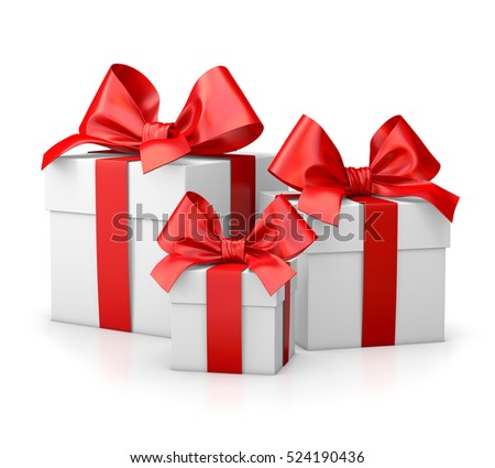 Christmas and New Year's Day , group three red gift boxes white background 3d rendering