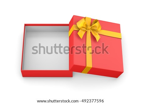 Christmas and New Year's Day ,Open red yellow gift box top view white background 3d rendering