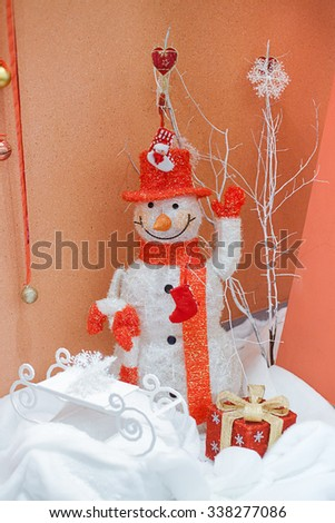 Christmas and New Year's decoration with snowman in the business center and in the office.