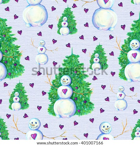 Christmas and New Year seamless pattern with funny snowman by conifer on texture background. Watercolor repeated illustration. Wallpaper design. - stock photo