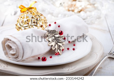 Christmas and New year table place setting with christmas decorations - stock photo