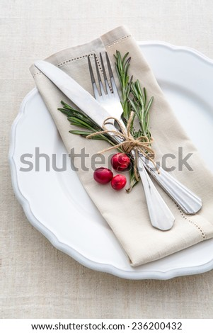 Christmas and New year table place setting with christmas decorations. - stock photo