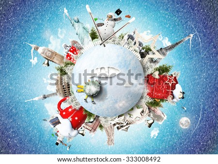 Christmas and New Year, winter vacations and holidays - stock photo