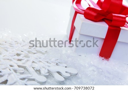 Christmas and New Years Day , red gift box white background