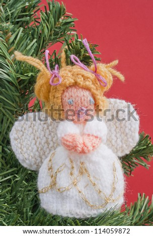 Christmas Angel Decoration Knitted Home Made Stock Photo Edit Now