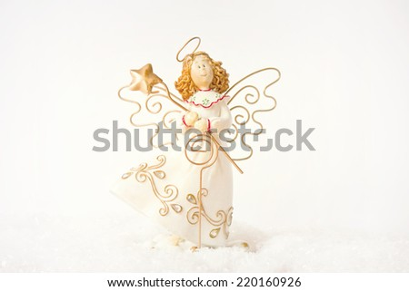 Christmas angel on a white background. - stock photo