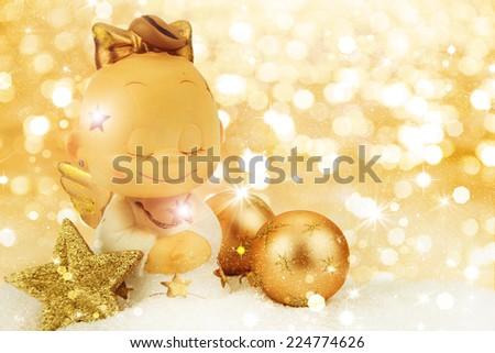 Christmas angel on golden background - stock photo