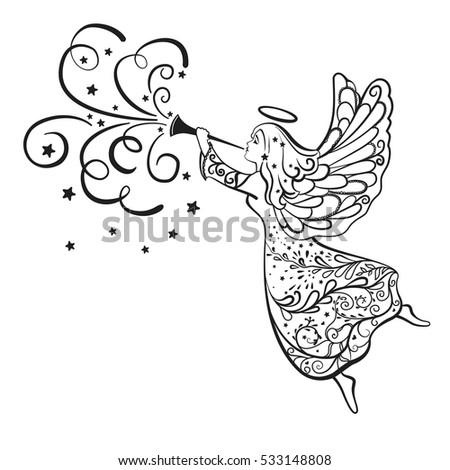 christmas angel trumpet flying sky stock illustration 533148808 rh shutterstock com Religious Christmas Clip Art Religious Christmas Clip Art