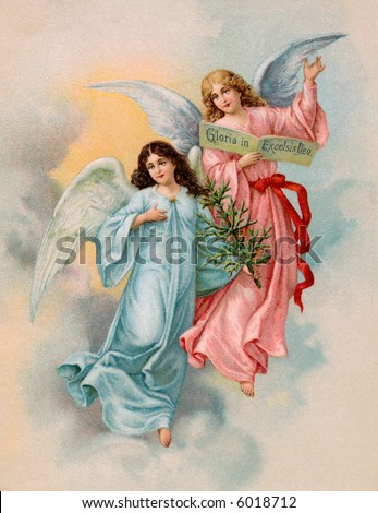 Christmas Angels with evergreen tree - a 1901 Swedish vintage illustration - stock photo