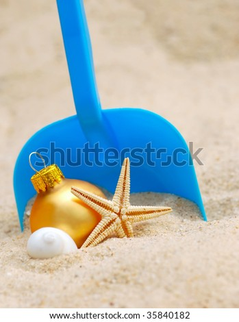 christmas at the beach - a warm weather xmas - stock photo