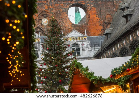 Christmas atmosphere at the Christmas market city. Christmas Fair. Lubeck. Germany. Europe.