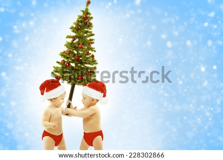 Christmas Baby Kids Greeting Present Xmas Tree, Children In Red Santa Hat Giving Fir As New Year Gift - stock photo
