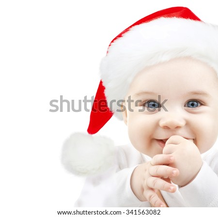 christmas, babyhood, childhood and people concept - happy baby in santa hat over white - stock photo
