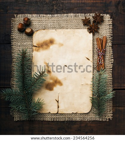 Christmas background and spices - stock photo