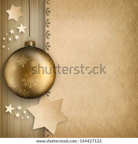 Christmas background - bauble and stars