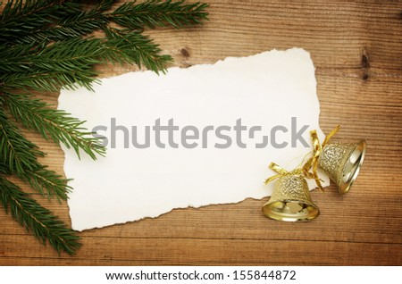 Christmas background: Blank Old Paper Sheet with decorations - stock photo