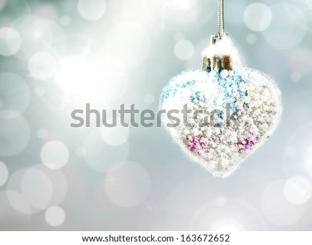 Christmas background. Christmas toy. Heart. - stock photo
