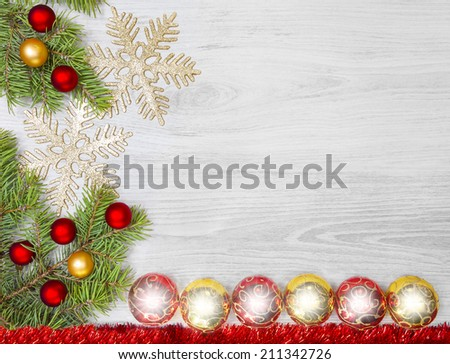 Christmas background, decoration on a wooden board.