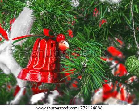 Christmas background decoration red bell and ornament on pine tree celebration for new year
