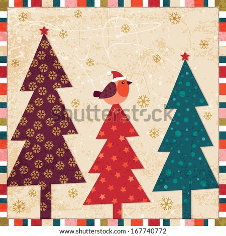 Christmas background design with robin redbreast and Christmas trees ...
