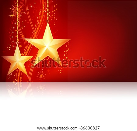 Christmas background, gift card for the festive occasion in shades of red with two golden stars and an underlying wavy line pattern