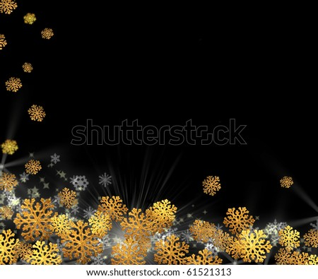 Christmas background - gold snowflakes on a black - stock photo