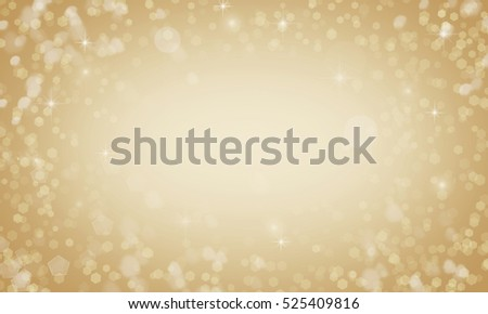 Christmas Background. Golden Holiday Abstract  Background With New Year Tree, Blinking Stars and Fireworks and Snowflake