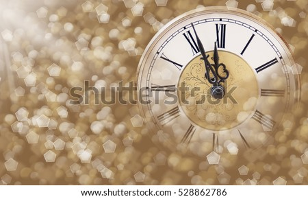 Christmas Background. Holiday Abstract Background With Clock and Blinking Stars