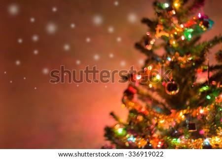 christmas background, image blur bokeh defocused lights decoration on christmas tree - stock photo