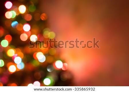 christmas background, image blur colorful bokeh defocused lights decoration on christmas tree - stock photo