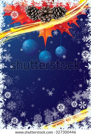 Christmas background  in blue and red colors with pine cones and snowflakes.                                                           - stock photo