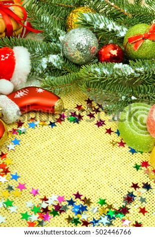 Christmas background, lollipops, pine twig, sweets, jellies