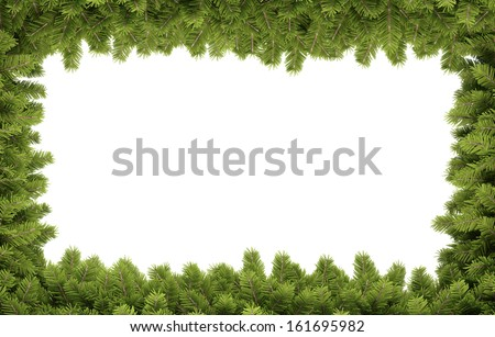 Christmas background natural decorative border - stock photo