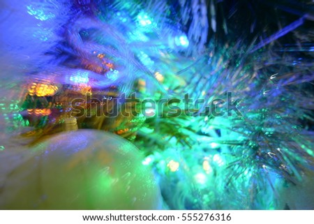 Christmas background, New Year, lights, Christmas tree decoration