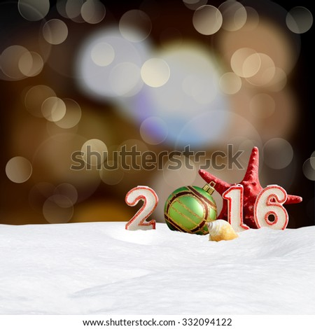 Christmas background - New year 2016 sign with snowdrift and abstract bokeh lights - stock photo